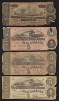 Confederate Notes:1863 Issues, T60 $5 1863;. T67 $20 1864;. T69 $5 1864 Two Examples.. ... (Total:4 notes)