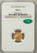 Commemorative Gold: , 1903 G$1 Louisiana Purchase/McKinley MS62 NGC. CAC. NGC Census:(227/1632). PCGS Population (307/2453). Mintage: 17,500. Nu...