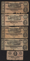 Confederate Notes:1863 Issues, T63 50 Cents 1863;. T68 $10 1864 Four Examples.. ... (Total: 5notes)
