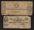 Confederate Notes:1862 Issues, T42 $2 1862;. T70 $2 1864.. ... (Total: 2 notes)
