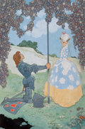 Pulp, Pulp-like, Digests, and Paperback Art, RENE BULL (British, 1845-1942). The Knight and His Maid,frontispiece for A Garland of Roses. Pencil and watercolor onb...