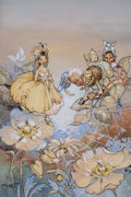 """Pulp, Pulp-like, Digests, and Paperback Art, PEG MALTBY (Australian, 1899-1985). """"A Fairy Crossing a Spider'sWeb Whist Another Daffs His Cap"""", story illustration. W..."""