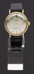 Timepieces:Wristwatch, LeCoultre 14k Gold Master Marine Automatic Wristwatch. ...