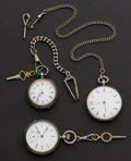 Timepieces:Pocket (pre 1900) , Three Swiss Silver Running Key Wind Pocket Watches. ... (Total: 3Items)