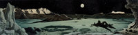 CHESLEY BONESTELL (American, 1888-1986) Mural study Oil on board 5.5 x 20.5 in. Signed lower l