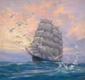 Mainstream Illustration, ANTON OTTO FISCHER (American, 1882-1962). Triple-masted SailingShip. Oil on canvas. 25.5 x 28 in.. Signed lower left. ...