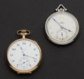 Timepieces:Pocket (post 1900), Elgin & Omega Masonic Dial Pocket Watches. ... (Total: 2 Items)