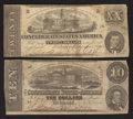 Confederate Notes:1862 Issues, T51 $20 1862;. T59 $10 1863.. ... (Total: 2 notes)