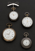 Timepieces:Pocket (post 1900), Three Swiss & One Waltham Silver Pocket Watches. ... (Total: 4 Items)
