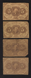 Fractional Currency:First Issue, Four Fr. 1230 5¢ First Issue Notes Very Good.. ... (Total: 4 notes)
