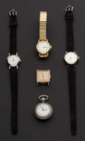 Timepieces:Other , Four Automatic Ladies Wristwatches & One Enamel Pocket Watch.... (Total: 5 Items)