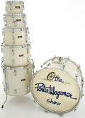 Musical Instruments:Drums & Percussion, Circa Late 1970's Pearl White MOTS Wood-Fiberglass Drum Set....
