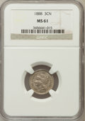 Three Cent Nickels: , 1888 3CN MS61 NGC. NGC Census: (4/198). PCGS Population (0/248).Mintage: 36,500. Numismedia Wsl. Price for problem free NG...