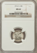 Barber Dimes: , 1912-S 10C MS62 NGC. NGC Census: (15/105). PCGS Population(30/120). Mintage: 3,420,000. Numismedia Wsl. Price for problem ...