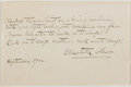 Autographs:Authors, Elizabeth Akers (1832-1911, American Writer). Autograph NoteSigned. Very good....
