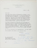 Autographs:Statesmen, William Benton (1900-1973, American Senator and Publisher). TypedLetter Signed. Very good....