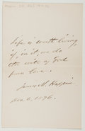 Autographs:Authors, James Mason Hoppin (1820-1906, American Writer). Autograph Quotation Signed. Very good....