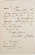 Autographs:Authors, Alice Williams Brotherton (1848-1930, American Writer). Autograph Letter Signed. Very good....