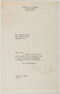 Autographs:Authors, Irvin S. Cobb (1876-1944, American Writer). Typed Letter Signed. Very good....
