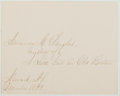 Autographs:Authors, Amanda Minnie Douglas (1831-1916, American Writer). Signed Note. Includes mailing envelope. Very good....