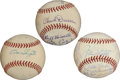 Autographs:Baseballs, 1940's U.S. Army Signed Baseballs Lot of 3 with DiMaggio....