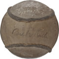 Autographs:Bats, 1926-27 New York Yankees Signed Softball with Ruth, Gehrig. ...