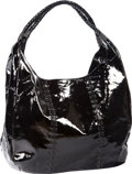 Luxury Accessories:Bags, Carlos Falchi Black Patent Leather Handbag with Shoulder Straps .Benefitting Leukemia & Lymphoma Society . ...