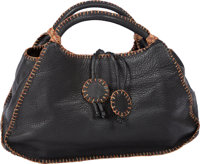 "Carlos Falchi ""Fatto a Mano"" Black Leather Handbag with Multicolor Stitching Benefitting Leukemia and Lymphoma..."