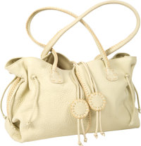 Carlos Falchi Tan Leather Pick Stitch Satchel Handbag Benefitting Leukemia & Lymphoma Society