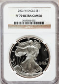 Modern Bullion Coins, 2002-W $1 Silver Eagle PR70 Ultra Cameo NGC. NGC Census: (3421).PCGS Population (1082). Numismedia Wsl. Price for problem...