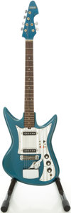 Musical Instruments:Electric Guitars, 1960's Silvertone 759-1436-1 Spectrum Lake Placid Blue Solid BodyElectric Guitar, #327578....