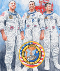 Pulp, Pulp-like, Digests, and Paperback Art, CHRIS CALLE (American, b. 1961). From Earth to Moon- Apollo 1,United States First Day Cover Society, September 12, 1994...
