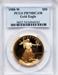 Modern Bullion Coins: , 1988-W G$50 One-Ounce Gold Eagle PR70 Deep Cameo PCGS. PCGSPopulation (260). NGC Census: (908). Mintage: 87,133. Numismedi...