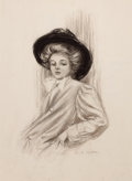 Pin-up and Glamour Art, CHARLES GATES SHELDON (American, 1889-1960). Gibson Girl.Charcoal on paper. 22.25 x 16.25 in.. Signed lower right....