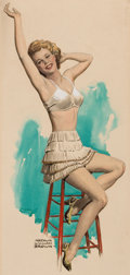 Mainstream Illustration, ARTHUR WILLIAM BROWN (American, 1881-1966). Seated Pin-Up.Watercolor and gouache on board. 18 x 8.5 in.. Signed lower l...