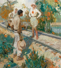 HERBERT MORTON STOOPS (American, 1888-1948) Stopped on the Tracks, story illustration, 1927 Oil on c