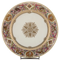 A SET OF TWELVE SÈVRES-STYLE LOUIS PHILLIPE PORCELAIN PLATES In the manner of Th