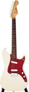 Musical Instruments:Electric Guitars, 1963 Fender Duo-Sonic Olympic White Solid Body Electric Guitar,Serial # L22976....