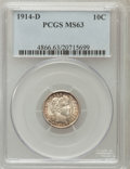 Barber Dimes: , 1914-D 10C MS63 PCGS. PCGS Population (91/175). NGC Census:(84/161). Mintage: 11,908,000. Numismedia Wsl. Price for proble...
