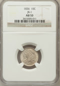 Bust Dimes: , 1836 10C AU53 NGC. JR-1. NGC Census: (9/161). PCGS Population(20/133). Mintage: 1,190,000. Numismedia Wsl. Price for prob...