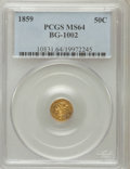 California Fractional Gold: , 1859 50C Liberty Round 50 Cents, BG-1002, High R.4, MS64 PCGS. PCGSPopulation (11/9). NGC Census: (1/5). (#10831)...