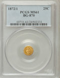 California Fractional Gold: , 1872/1 25C Indian Round 25 Cents, BG-870, R.3, MS61 PCGS. PCGSPopulation (6/194). NGC Census: (0/21). (#10731)...