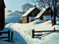 Mainstream Illustration, ARTHUR SARON SARNOFF (American, 1912-2000). Winter Landscapewith House. Gouache and tempera on board. 12 x 16 in.. Sign...