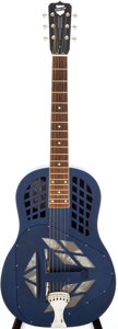 Musical Instruments:Resonator Guitars, 2005 National Tricone Polychrome Blue Resonator Guitar, Serial #696....