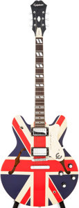 Musical Instruments:Electric Guitars, 2005 Epiphone Noel Gallagher Union Jack Supernova ES-335Semi-Hollow Body Electric Guitar, Serial # I05092095....