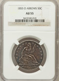 Seated Half Dollars: , 1855-O 50C Arrows AU55 NGC. NGC Census: (60/257). PCGS Population(44/234). Mintage: 3,688,000. Numismedia Wsl. Price for p...