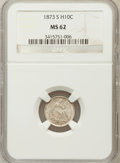 Seated Half Dimes: , 1873-S H10C MS62 NGC. NGC Census: (38/177). PCGS Population(38/163). Mintage: 324,000. Numismedia Wsl. Price for problem f...