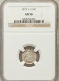 Seated Half Dimes: , 1873-S H10C AU58 NGC. NGC Census: (23/225). PCGS Population(19/211). Mintage: 324,000. Numismedia Wsl. Price for problem f...