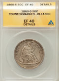 Seated Half Dollars, 1860-S 50C -- Countermarked, Cleaned -- ANACS. XF40 Details. NGCCensus: (2/53). PCGS Population (9/71). Mintage: 472,000. ...