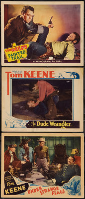 """Under Strange Flags & Others Lot (Crescent Pictures, 1937). Lobby Cards (3) (11"""" X 14""""). Western..."""